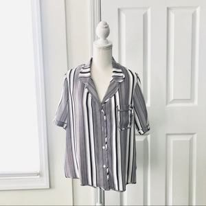 Tucker Striped Silk Short Sleeve Safari Blouse L